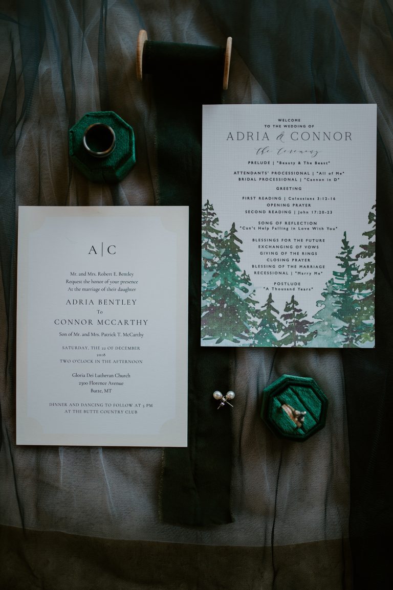 pine tree wedding invitation